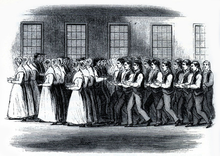 worship service: Shaker men and women in a worship service in 19th Century USA, engraving from The Communistic Societies of the United States, by Charles Nordoff, 1875