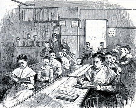 communistic: Escena de una escuela de la coctelera en 19th Century EE.UU., el grabado de las sociedades comunistas de los Estados Unidos, por Charles Nordoff, 1875