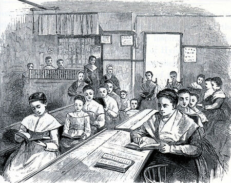 communistic: Scene from a Shaker School in 19th Century USA, engraving from The Communistic Societies of the United States, by Charles Nordoff, 1875 Editorial