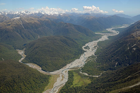 west  coast: The Otira River (at left) joins the Taramakau River on its way to the West Coast, South Island, New Zealand