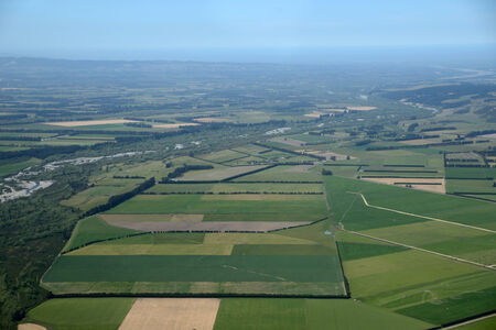 dairying: Aerial of dairy and cropping farms in Canterbury, South Island, New Zealand