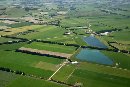 Aerial of dairy and cropping farms in Canterbury, South Island, New Zealand