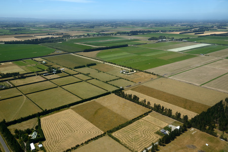 haymaking: Aerial of cropping farm ready for hay-making in Canterbury, South Island, New Zealand