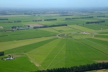 cropping: Aerial of dairy and cropping farms in Canterbury, South Island, New Zealand