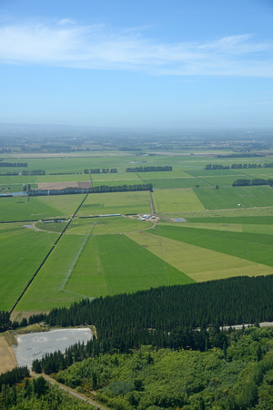 canterbury: Aerial of dairy and cropping farms in Canterbury, South Island, New Zealand