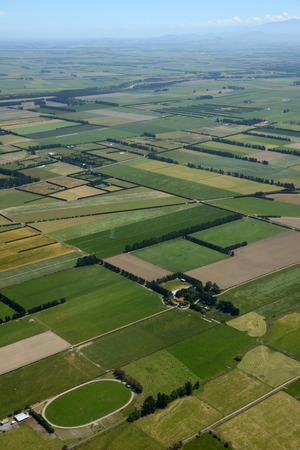 an agricultural district: Aerial of dairy and cropping farms in Canterbury, South Island, New Zealand