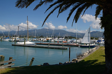 moorings: MOTUEKA, NEW ZEALAND, DECEMBER 23, 2014 Sail boats rest at their moorings at the Motueka Yacht club in New Zealand on December 23, 2014 Editorial