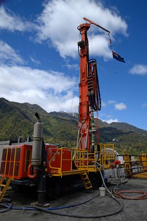 geologists: Drilling rig  on the Deep Fault Drilling Project, Whataroa, New Zealand. Geologists expect to gain knowledge of earthquakes from core samples of the Alpine Fault.