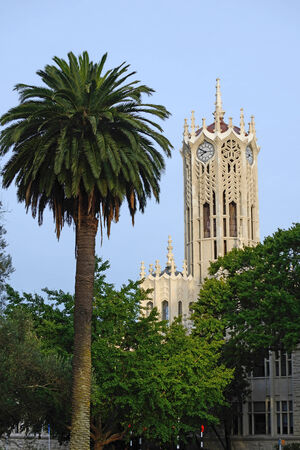 tertiary: The iconic clock tower at the University of Auckland, Northland, New Zealand Stock Photo
