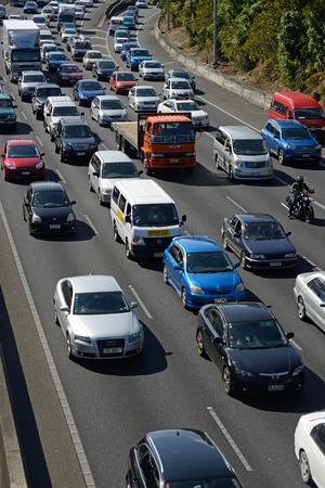 congested: Congested outgoing traffic in the afternoon rushhour on an Auckland motorway, Northland, New Zealand on January 19, 2015