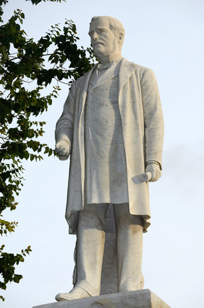 Statue of Governor George Grey at the University of Auckland, Northland, New Zealand. George Grey (1812-1898) was governor of New Zealand during the tumultuous land wars against the Maori.
