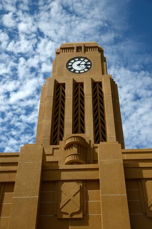 timepieces: Westports iconic clock tower overlooks the town centre, West Coast, New Zealand