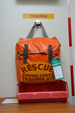 readiness: GREYMOUTH, NEW ZEALAND, MAY 20, 2015: A trauma kit packed and ready to go at a working coal mine near Greymouth, New Zealand