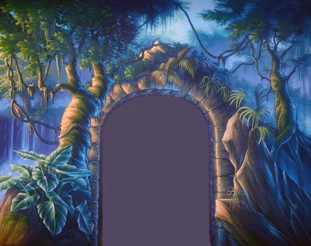 primeval: Theatre backdrop featuring a doorway set in a jungle cave