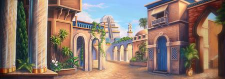 Theater achtergrond met een scène van het oude Babylon