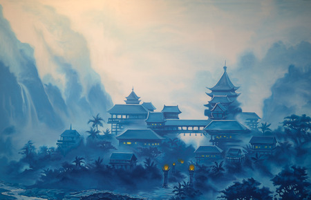 china art: Theatre backdrop featuring a classical chinese landscape Stock Photo