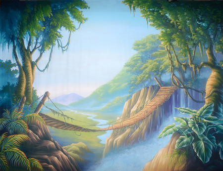 Theatre backdrop featuring a swinging bridge in a forsaken jungle