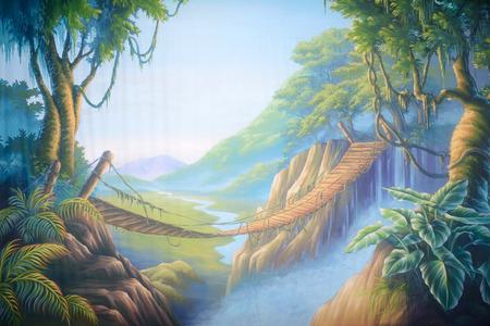 prop: Theatre backdrop featuring a swinging bridge in a forsaken jungle