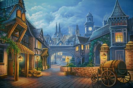 Theatre backdrop featuring a street scene in Victorian-era London Stockfoto