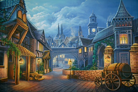 Theatre backdrop featuring a street scene in Victorian-era London Reklamní fotografie - 43278032