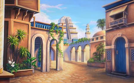 고대 바빌론의 현장을 갖춘 극장 배경