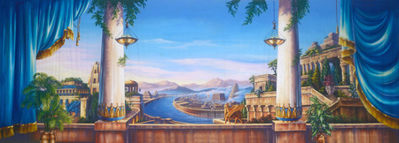 Theatre backdrop featuring a scene of ancient Babylon Imagens - 43280532