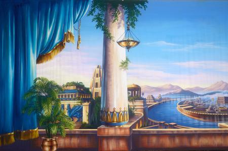teatro antiguo: Tel�n de teatro que ofrece una escena de la antigua Babilonia
