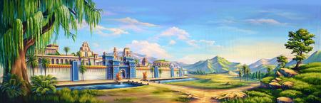 바빌론의 고대 도시의 입구를 갖춘 극장 배경