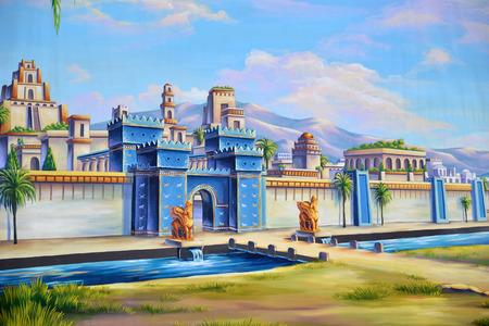teatro antiguo: Tel�n de teatro que ofrece la entrada a la antigua ciudad de Babilonia Foto de archivo