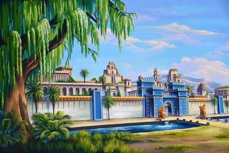 Theater achtergrond met de ingang van de oude stad Babylon