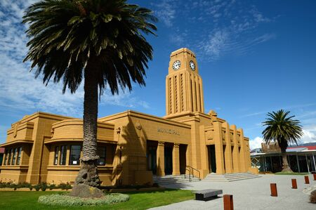 timepieces: The iconic clock tower and council chambers building in Westport, West Coast, New Zealand