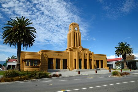 chambers: Westports iconic clock tower and council chambers building overlooks the town centre, West Coast, New Zealand