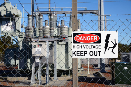 substation: Signage warns people against accessing an electrical sub-station