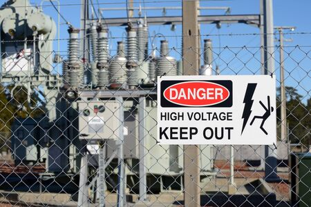 voltage: Signage warns people against accessing an electrical sub-station