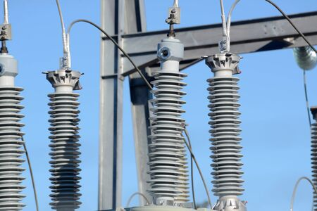 substation: Electrical insulators at an electrical sub-station