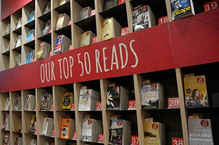 retailing: AUCKLAND, NEW ZEALAND, July 12, 2015: book sellers display in Auckland, New Zealand, July 12, 2015 Editorial