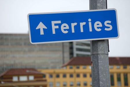 wellingtons: Roadsign points the way to Wellingtons Interislander ferry terminal in New Zealand