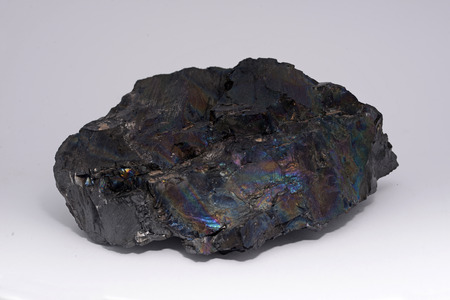 anthracite coal: A colourful piece of anthracite, known to the miners as rainbow coal or peacock coal. Anthracite is the purest form of coal and it appears in about 1% of coal deposits around the world.