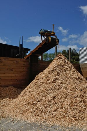 sawmill: A conveyor carries pieces of woodchip to the pile at a small sawmill Stock Photo