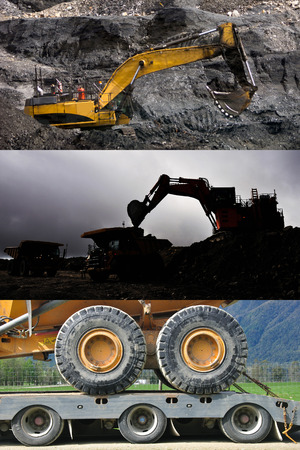 tonne: montage of mining activities: top, a digger removes coal from a seam, a 190 ton digger loads trucks with rock, and a transporter loaded with a 30 tonne tiptruck.