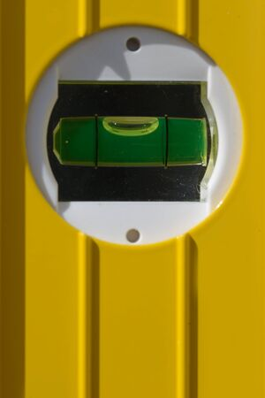 bubble level: detail of the bubble in a spirit level Stock Photo