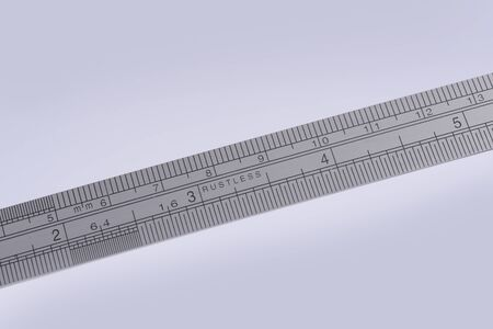 millimetre: detail of a small stainless steel ruler