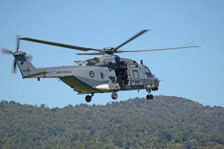An Air Force NH90 helicopter takes off from Greymouth aerodrome at an open day run by the New Zealand armed forces. The NH90 was built by NATO Helicopter Industries (NHI) (France).