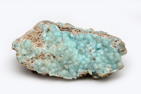 A specimen of hemimorphite, an ore of zinc, from Mexico