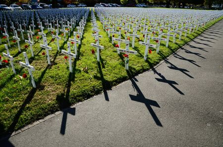Christchurch, New Zealand, April 20, 2018: A field of crosses represents those who died in the Great War for a memorial on Anzac Day Editorial