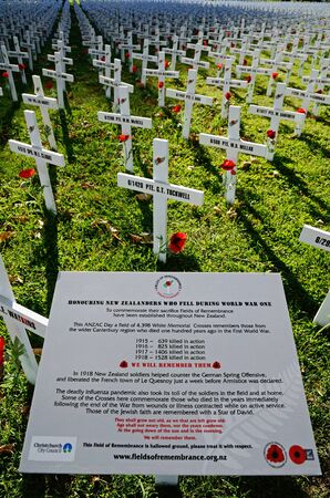 CHRISTCHURCH, NEW ZEALAND, APRIL 20, 2018: A  field of crosses represents those who died in the Great War. The memorial was set up for Anzac Day in Christchurch, New Zealand
