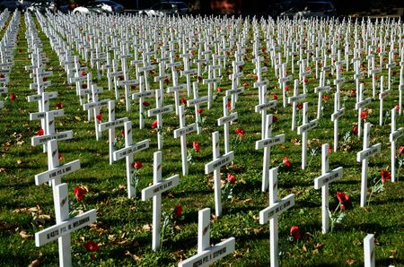 CHRISTCHURCH, NEW ZEALAND, APRIL 20, 2018: A field of crosses represents those who died in the Great War for a memorial on Anzac Day
