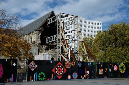 CHRISTCHURCH, NEW ZEALAND, APRIL 20, 2018: The iconic Anglican Cathedral remains a ruin in Christchurch, South Island, New Zealand, since the earthquake of 22-2-2011