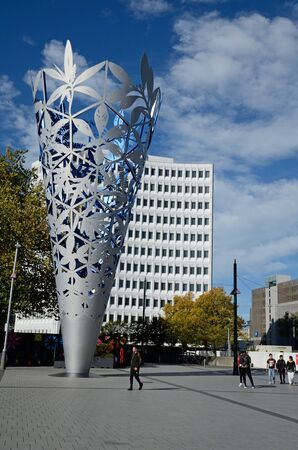 CHRISTCHURCH, NEW ZEALAND, APRIL 20, 2018: The iconic chalice stands in Cathedral Square in Christchurch, South Island, New Zealand Editorial