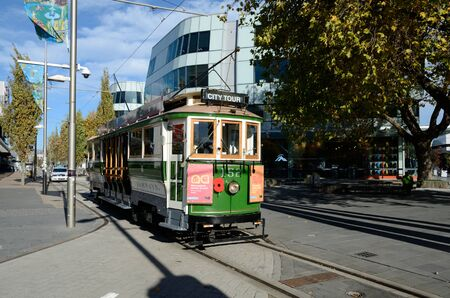 CHRISTCHURCH, NEW ZEALAND, APRIL 20, 2018: Trams for the tourists are back on track in Christchurch, South Island, New Zealand